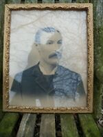 "Antique Gold Gesso Wood Frame w/ Dapper Moustace Gentleman 17 1/2"" x 21 1/2"""