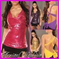 NEW SEXY PARTY TOPS FOR WOMEN 6 8 10 12 LADIES CLUBBING WRAP SEQUIN SHIRTS S M L