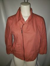 Hurley Women's Moto Jacket Large Pink Off-Center Zip Low Front 3/4 Sleeve Size M
