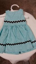 aqua dress with brown trim fits American Girl doll handmade and new