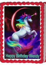 Unicorn Rainbow Image Sparkles Birthday Party  Edible Cake Topper Decoration
