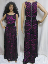 NWT HAILEY ADRIANNA PAPELL Black Lace & Fuchsia Back Zipper Dress Gown Sz 12
