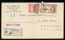 Mayfairstamps Barbados 1947 Bridgetown Registered RLO to England London cover ww