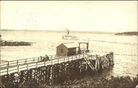 Wharf & Steamer 1922 Ocean Point ME Cancel Real Photo Postcard