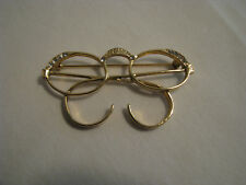 Cute Goldtone Glasses/Spectacles Brooch Pin W/Clear Crystals