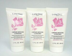 Lot/3 Lancome Creme Mousse Confort Comforting Cleansing Creamy-Foam ~1.7 oz Each