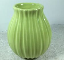 Barbara Eigen Green Ribbed Vase Designed  Made In Portugal