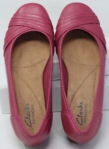 Clarks Bendables Women's Pink Fuchsia Leather Ballet Flats Slip-On Shoes Sz 7 M