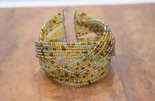 Bracelet Beaded Iridescent Gold Blue Cuff