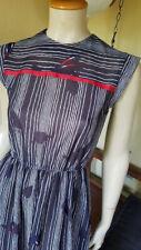 Rwb Striped Vtg 70s Secretary Sheer Sleeveless Elasticized Indie Day Dress S/M