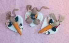 3 PIN LOT! country style bunny rabbit pins VINTAGE