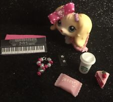 LPS-Pink Sparkle Outfit Keyboard Phone Bow Collar Earrings-Accessories Lot