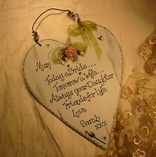 Wedding Gift for Mother of the Bride  Personalized shabby chic wooden heart