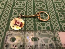 Vintage Enamel Canadian Flag Gold Fone Keychain Keyring FREE SHIPPING