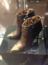 ROBERTO CAVALLI SNAKE LEOPARD GOLD ANKLE BOOTS SHOES HEELS 39 9 $1995