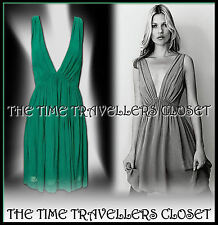 KATE MOSS TOPSHOP RARE GRECIAN INSPIRED GREEN PLUNGE V MIDI DRESS UK 8 US 4 EU36