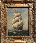 Antique T. BAILEY Original Oil Painting on canvas Ship on the Ocean, Framed