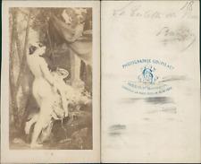 la toilette de Vénus, peinture CDV vintage albumen,  Tirage albuminé  6,5x10