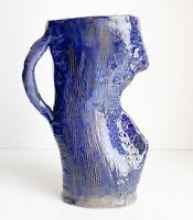 "STUDIO ART POTTERY FUNKY POTTERY BLUE ABSTRACT FLOWER 8"" JUG/VASE"