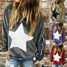 Women Long Sleeve Crew Neck T Shirt Pullover Casual Star Print Blouse Loose Tops