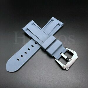 22mm-26mm Silicone Rubber Watch Band Replace For Panerai Strap Black Green Gray