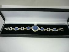 Superb Unusual Art Deco Style Ladies Lapis Lazuli & Solid Sterling Silver Watch