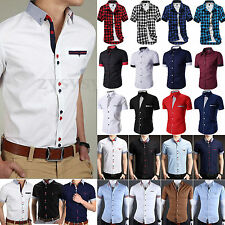 Men's Short Sleeve Button Down Shirt Slim Fit Formal Dress Summer Business Tops