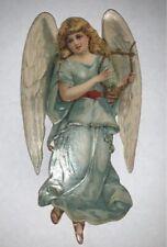 Alte Oblaten Glanzbilder Scraps L&B  blauer Engel mit Harfe um 1900