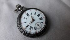 ANTIQUE STERLING SILVER CASE LECOULTRE CYLINDER POCKET WATCH ENGRAVING WORKING
