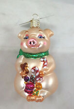 LESTER THE PIG with Candy Glass Ornament Old World Christmas NEW IN BOX