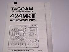 Tascam 424 MK III  Porta Studio Manual  PDF Manual