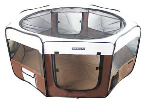 """37"""" Portable Puppy Pet Dog Soft Tent Playpen Folding Crate Pen New - Cofee"""