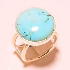 "Real Tibetan Turquoise Gemstone 925 Silver Plated Ring Size UK ""P""/US ""8"""