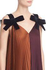 Roksanda NWT Dramatic Open Back Lrg Velvet Bow 2-Tone Pleated Farhadi Dress 10UK