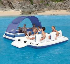 6 Person Floating Island Inflatable Large Lounge Float Water Rafts w/ Sun Shade