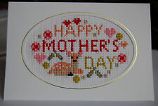 Completed Cross Stitch Mothers Day Card