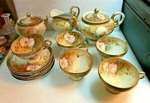 ANTIQUE PORCELAIN NIPPON Pedestal Tea Set Moriage Gold Teapot Cup Saucer C&S (13