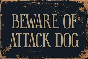 "Beware Of Attack Dog 8"" x 12"" Vintage Aluminum Retro Metal Sign VS460"