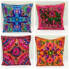 """Indian Suzani Ethnic Vintage Cushion Cover Covers Embroidery Mirror Elephant 16"""""""