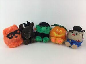 Puffkins Lot of 5 Halloween Plush Stuffed Toys Bat Scarecrow Pumpkin Swibco NWT