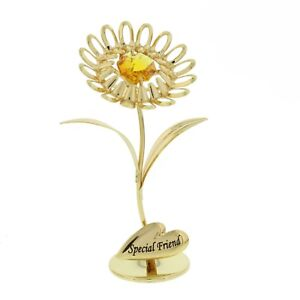 """Crystocraft 24K Gold Plated Flower Figurine """"Special Friend"""" with SWAR crystals"""