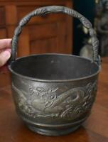 ANTIQUE CHINESE BRONZE DRAGON MOTIF HANDLED CACHEPOT BRONZE POT