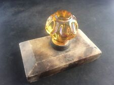 Antique c19th Amber Glass & Marble Stone Desk Ornament Paperweight Stamp Seal