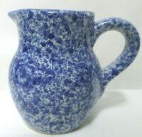 """Vintage blue Stoneware Pitcher Creamer Spongeware 4.5"""" tall"""