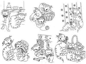 Vintage Embroidery Transfer rep 177 Naughty Kittens for Disht Towels Cloths 40s