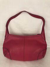 Baekgaard Women's 100% Genuine Leather Small Hand Bag Purse Hot Pink EUC