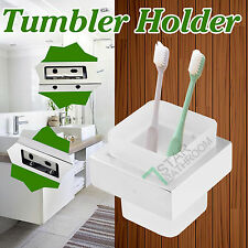 Tumbler Holder Square Toothbrush Glass Cup Chrome Wall Mount Bath Accessories