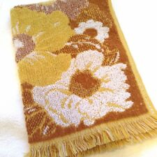 Vintage 1970s Fringed HAND TOWEL, GOLD BROWN FLORAL Mid Century Modern PERFECT