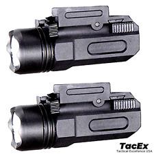 2 Pack Tactical Pistol Gun Flashlight Torch Light for 20mm Rail 600 LM