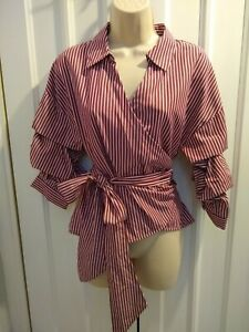 Hallhuber wrap-over stripped top with deep v neck line